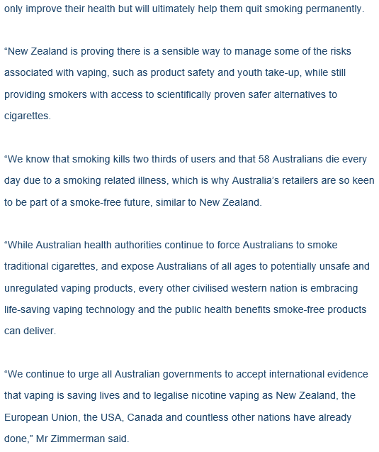 ARVIA media release Aussie Vape Labs wholesale distribution